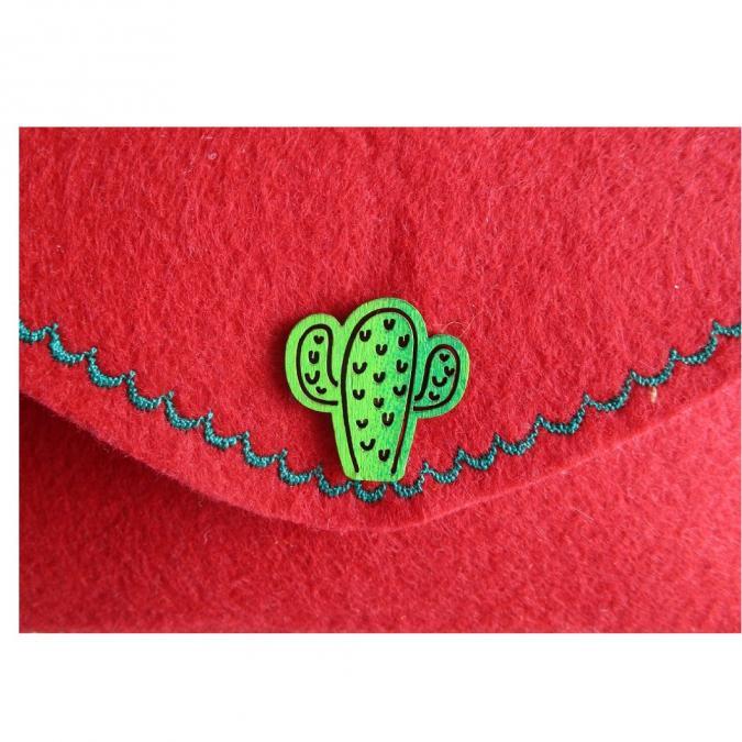 Evysoie - Etui à lunettes en feutre rouge décor cactus - Etui à lunette