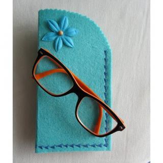 Evysoie - Etui à lunettes en feutre turquoise - Etui à lunette