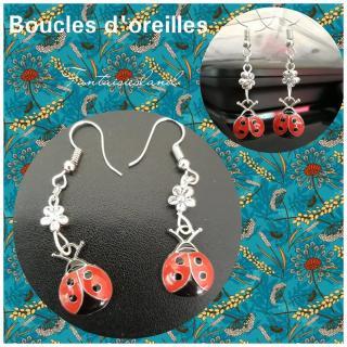Fantaisiesland - Boucles d'oreilles - coccinelle - Boucles d'oreille - Métal (argenté)