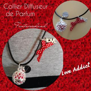 Fantaisiesland - Collier diffuseur de parfum - love addict - Collier - simili cuir
