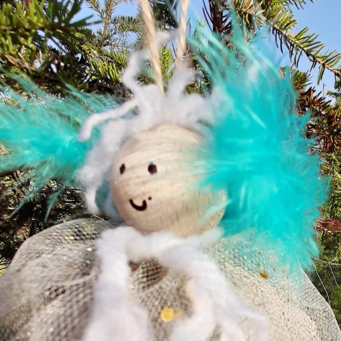 Farfeline - Ange de Noël - turquoise & or - décoration de noêl
