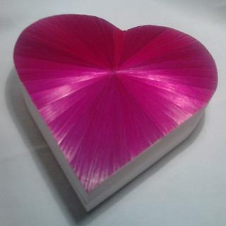 Farfeline - Boîte en marqueterie de paille rose fuchsia - forme coeur - Boite