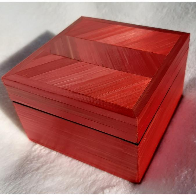 Farfeline - Boîte en marqueterie de paille rouge - Boite