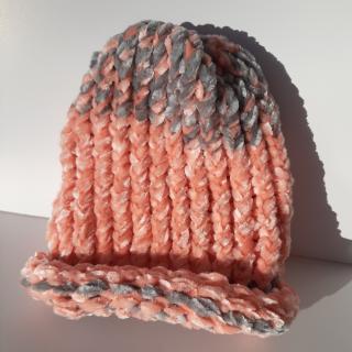 Farfeline - Bonnet bébé maille chenille - gris / rose saumon - Bonnet (bébé)