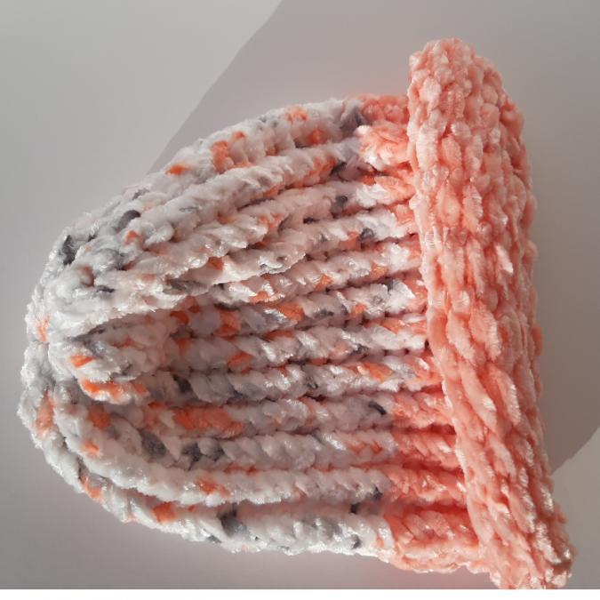Farfeline - Bonnet bébé maille chenille - rose saumon / blanc chiné - Bonnet (bébé)
