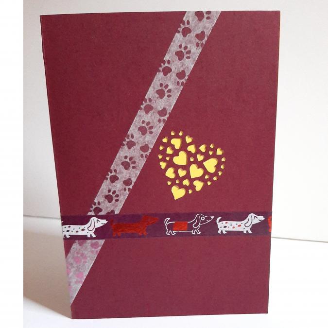 Farfeline - Carte motif perforé coeur - bordeaux & jaune - Carte de voeux