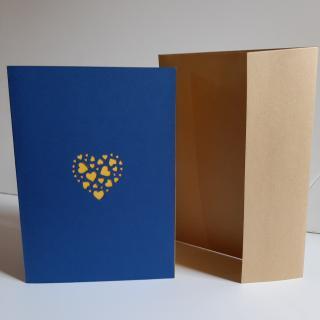 Farfeline - Carte motif perforé coeurs - bleu & jaune - Carte de voeux