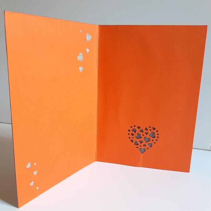 Farfeline - Carte motif perforé coeurs - gris & orange - Carte de voeux