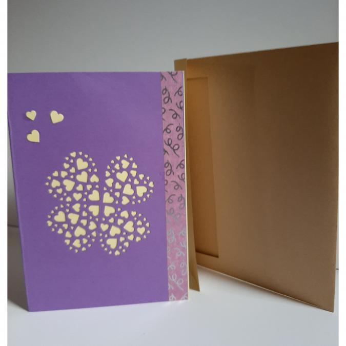 Farfeline - Carte motif perforé coeurs - mauve & jaune - Carte de voeux