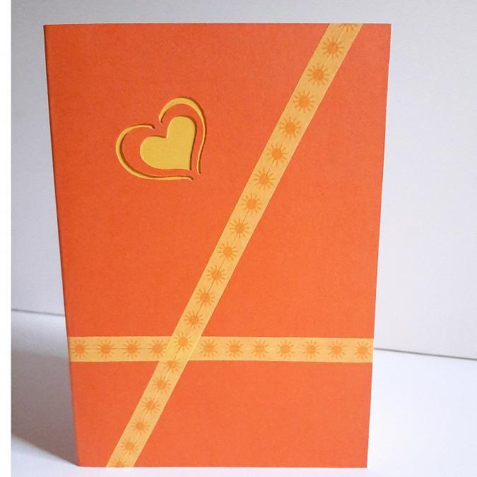 Farfeline - Carte motif perforé coeurs - orange & jaune - Carte de voeux