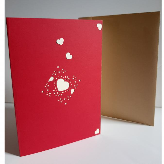 Farfeline - Carte motif perforé coeurs - rouge & crème - Carte de voeux
