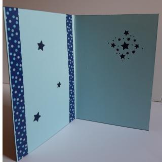 Farfeline - Carte motif perforé étoiles - bleu & bleu ciel - Carte de voeux