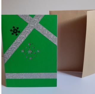 Farfeline - Carte motif perforé étoiles  - vert, parme & argenté - Carte de voeux