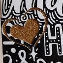 Farfeline - Carte motifs coeur & Houx perforés - blanc, noir, doré & parme - Carte de voeux