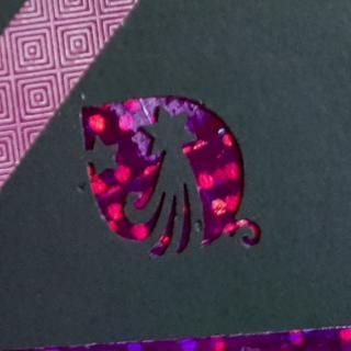 Farfeline - Carte motifs perforés boules de Noël - noir, parme, rose - Carte de voeux