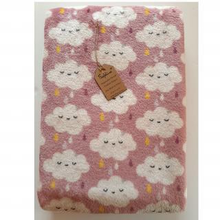 """Farfeline - Couverture/plaid - motif """"nuages"""" - vieux rose / gris - Couverture pour bébé"""