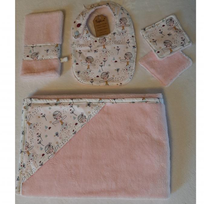 Farfeline - Ensemble sortie de bain & repas pour bébé - fées - rose/blanc - Cape de bain (enfant)