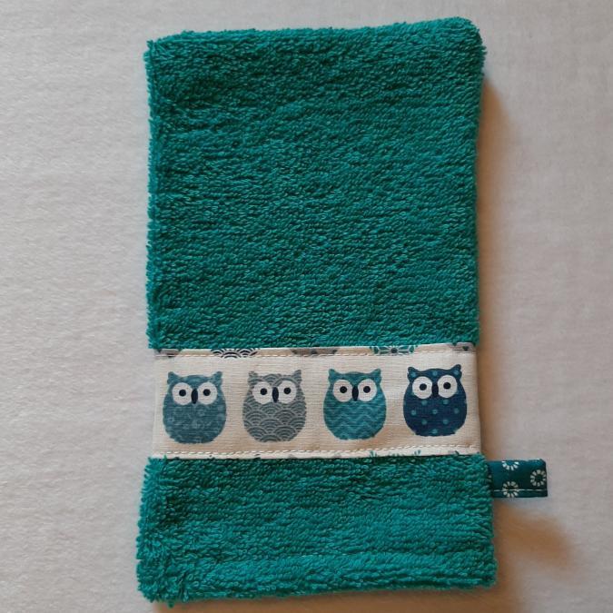 Farfeline - Ensemble sortie de bain & repas pour bébé - Motif chouettes - Crème/bleu canard - éponge coton - Cape de bain (enfant)