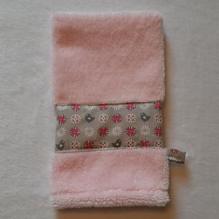 Farfeline - Ensemble sortie de bain & repas pour bébé - oiseaux/ fleurs  - rose/beige - Cape de bain (enfant)