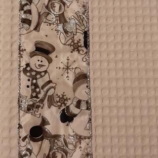 Farfeline - Lot de 4 sets de table en coton - décor bonhomme de neige - Set de table - argenté