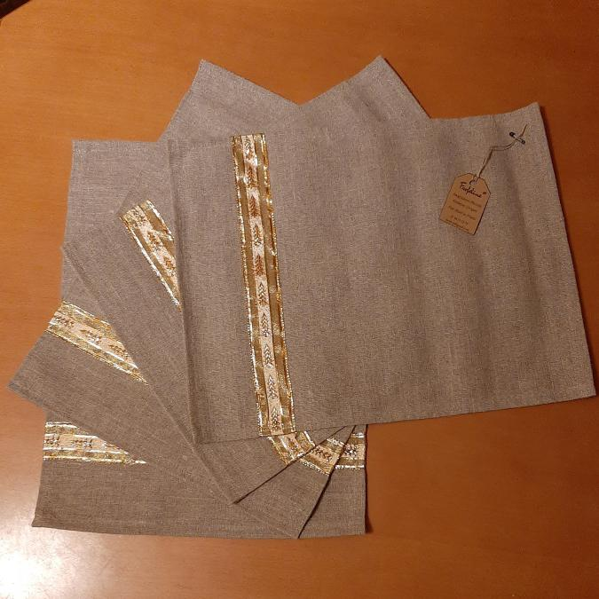 Farfeline - Lot de 4 sets de table en lin - décor sapins dorés - Set de table - Lin