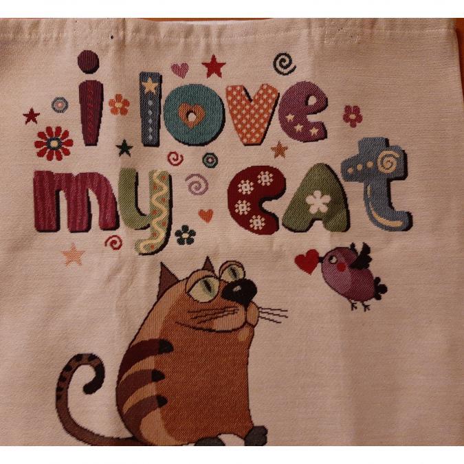 "Farfeline - Sac cabas multi-usage - tissu jacquard - ""I love my cat"" - sac multi-usage"