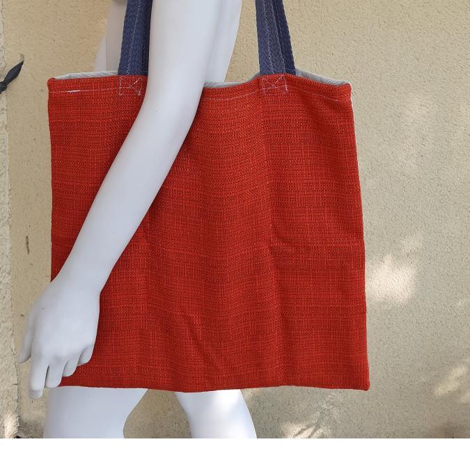 Farfeline - Sac cabas multi-usage - tissu jacquard - Poisson rouge - sac multi-usage