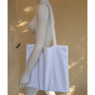 Farfeline - Sac cabas multi-usage - tissu jacquard - Poissons bleus, sangle blanche - sac multi-usage