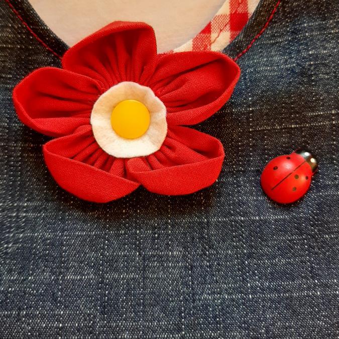 Farfeline - Sac multi-usage - Jean - fleur rouge & coccinelle en relief - doublure vichy rouge & blanc - ___Sacs