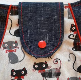 Farfeline - Sac multi-usage - motif chats & tissu jeans - ___Sacs