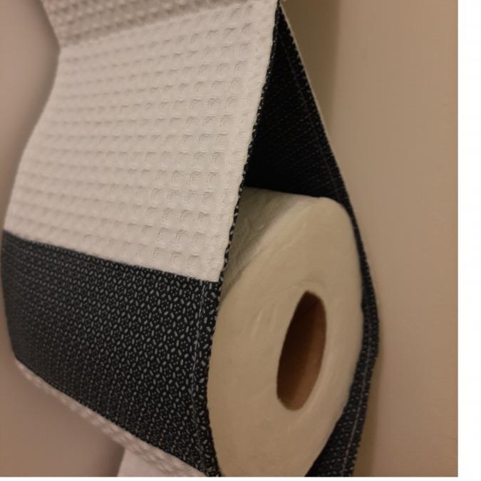Farfeline - Support papier toilette en tissu - motif géométrique - cordon bleu uni - support papier toilette