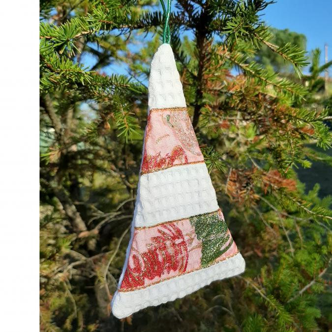 Farfeline - Suspension - forme sapin - bande rouge, verte, dorée - décoration de noêl