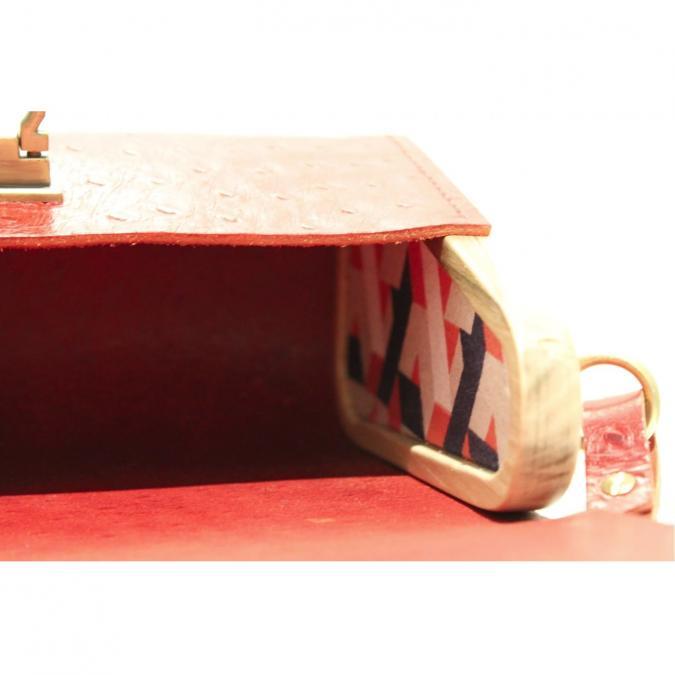 Fibre de Bois - Modèle Rouge, grainé autruche - Sac à main - Rouge