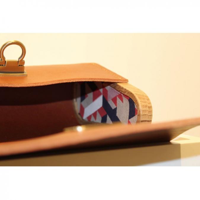 Fibre de Bois - Petit modèle Whisky, cuir lisse chaine - Sac à main - Marron