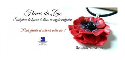 Fleurs de Zine - Sculpture de décorations et bijoux floraux en argile polymère. Créations uniques et  petites séries.