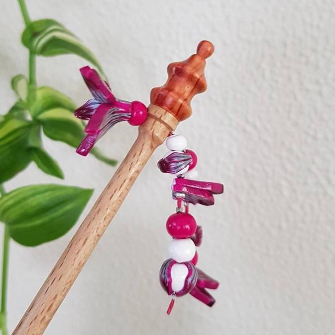 Fleurs de Zine - Pique à cheveux rose - Pique à cheveux