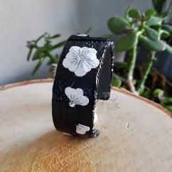Fleurs de Zine - Torque noir argenté - Bracelet - 4668