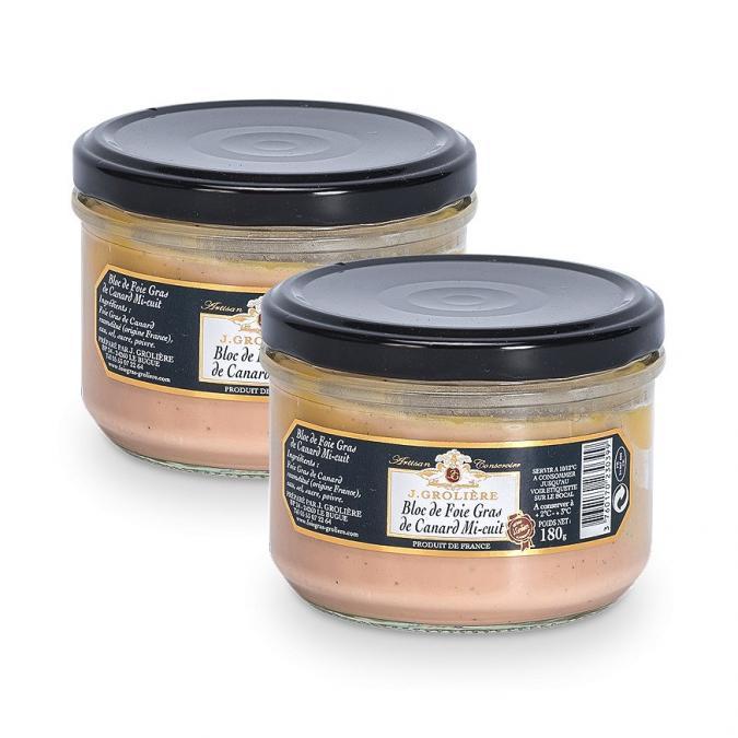 FOIE GRAS GROLIERE - 2 Blocs de Foie Gras de Canard Mi-Cuit - 360 gr - Foie gras - 0.360