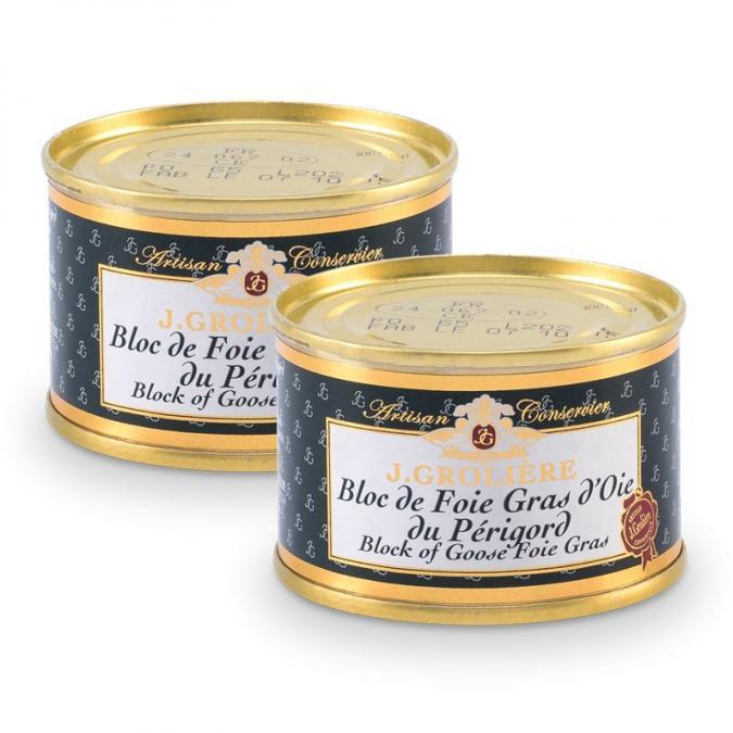 FOIE GRAS GROLIERE - 2 Blocs de Foie Gras d'Oie du Périgord 65g - Foie gras - 0.130
