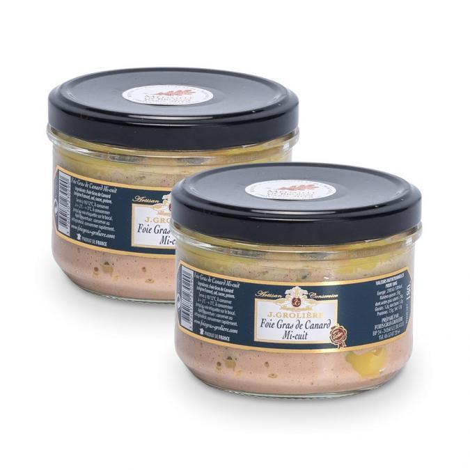 FOIE GRAS GROLIERE - 2 Foies Gras de Canard Mi-Cuit - 600 gr - Foie gras - 0.600