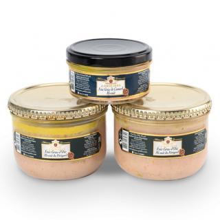 FOIE GRAS GROLIERE - 2 Foies Gras d'Oie mi-cuits du Périgord 300g + 1 Foie Gras de Canard Mi-Cuit - Foie gras - 0.720