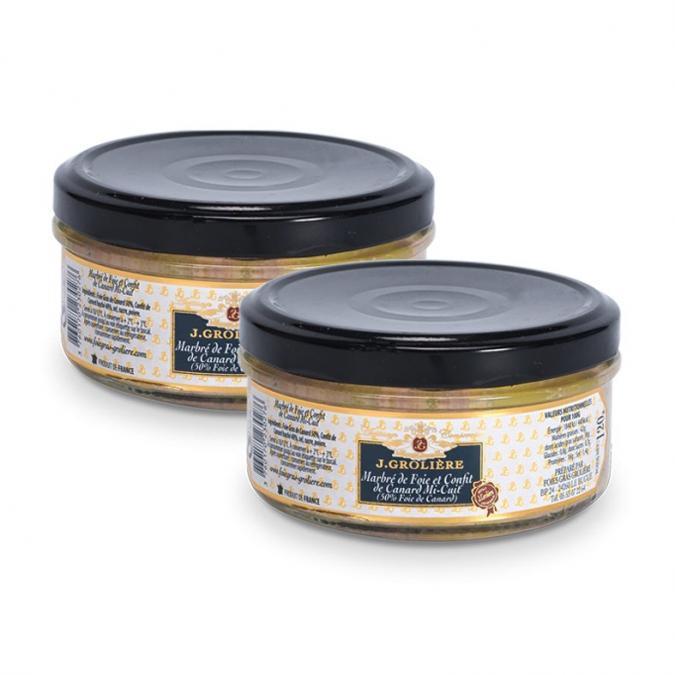FOIE GRAS GROLIERE - 2 Marbrés de Foie et Confit de Canard Mi-Cuit - Foie gras - 0.240