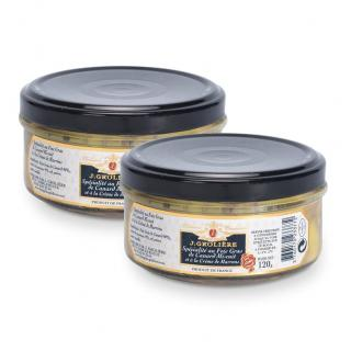 FOIE GRAS GROLIERE - 2 Spécialités au Foie Gras de Canard Mi-Cuit à la Crème de Marrons - Spécialité canard et oie - 0.120