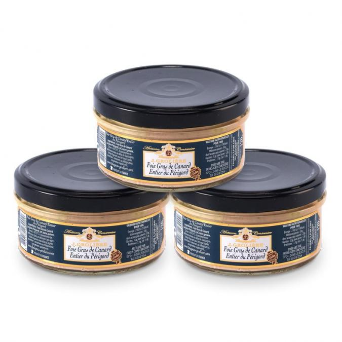 FOIE GRAS GROLIERE - 3 Foies Gras de Canard Entiers du Périgord - 360 gr - Foie gras - 0.360