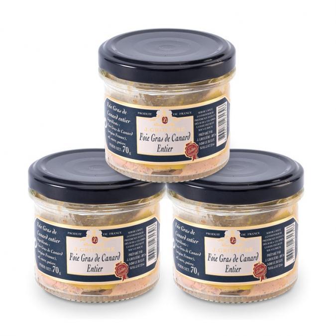 FOIE GRAS GROLIERE - 3 Foies Gras de Canard Entiers du Périgord - 540 gr - Foie gras - 0.540