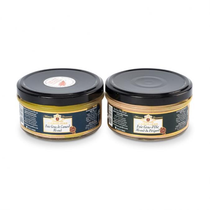 FOIE GRAS GROLIERE - DUO : Foies Gras d'Oie et Canard Mi-Cuits 120g - Foie gras - 0.240