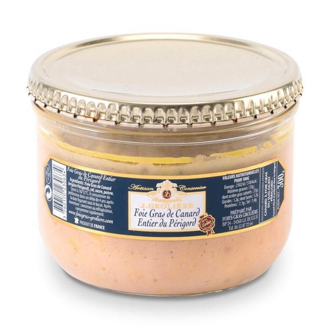 FOIE GRAS GROLIERE - Foie Gras de Canard Entier du Périgord - 300 gr - Foie gras - 0.300
