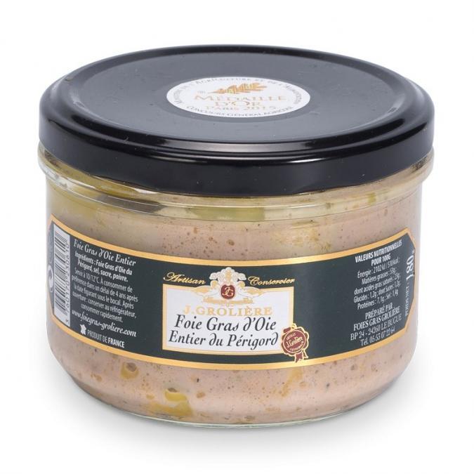 FOIE GRAS GROLIERE - Foie Gras d'Oie Entier du Périgord - 180 gr - Foie gras - 0.180