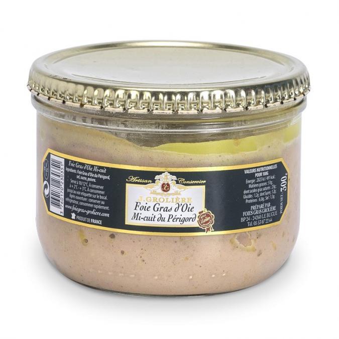 FOIE GRAS GROLIERE - Foie Gras d'Oie Mi-Cuit du Périgord - 300 gr - Foie gras - 0.300