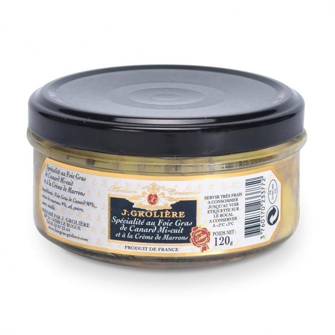 FOIE GRAS GROLIERE - Spécialité au Foie Gras de Canard Mi-Cuit à la Crème de Marrons - Spécialité canard et oie - 0.120